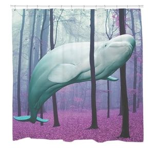 Beluga Whale Forest Shower Curtain